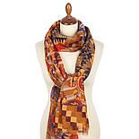 Палантин шерстяной 10530-2, павлопосадский шарф-палантин шерстяной (разреженная шерсть) с осыпкой, фото 3