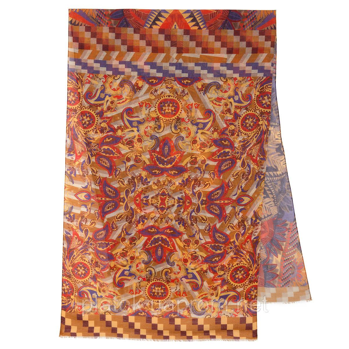 Палантин шерстяной 10530-2, павлопосадский шарф-палантин шерстяной (разреженная шерсть) с осыпкой