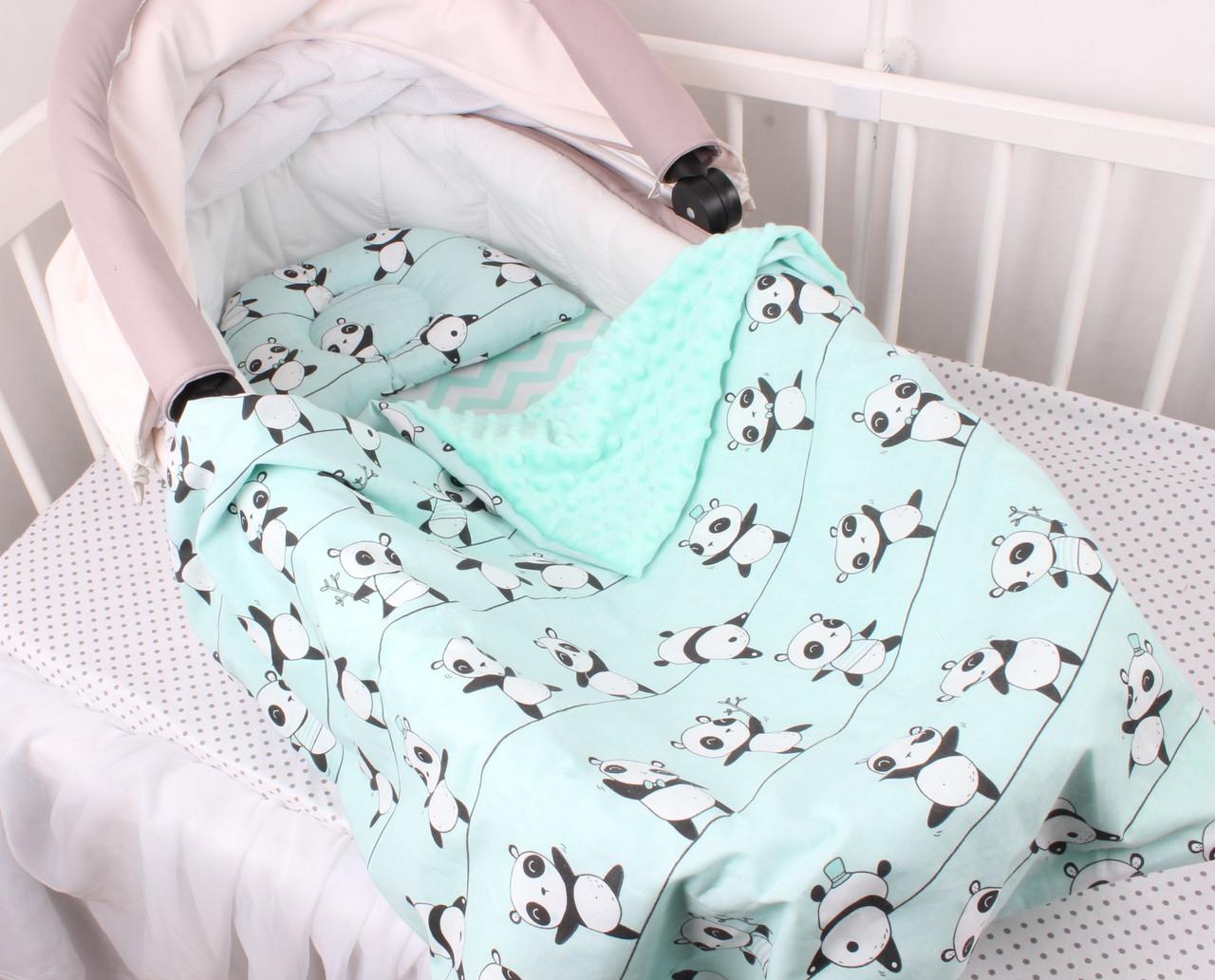 """Комплект в коляску для новорожденного """"Мятные Панды"""""""