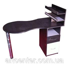 Манікюрний стіл з поличками складаний, комбінування кольорів чорного з білим