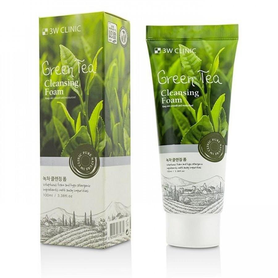 Пенка для умывания с экстрактом зеленого чая  3W Clinic Cleansing Foam Green Tea