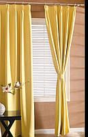 Готовые Шторы комплект  для комнаты габардин желтого цвета  1.5*3 м.(2 полотна)