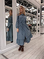 Байковое платье-рубашка миди