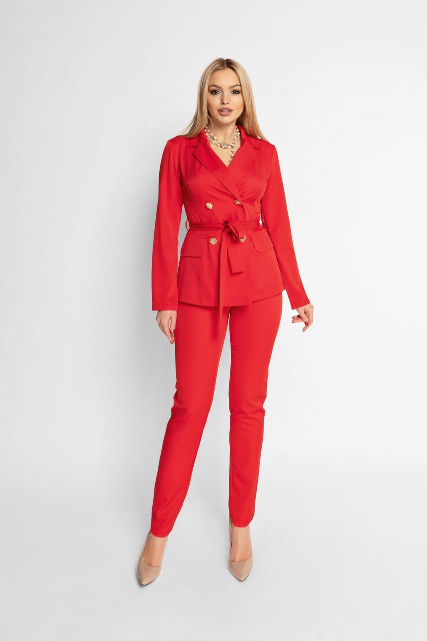 3c79938d3e5d Женский элегантный брючный костюм, красный, костюмка, молодёжный, офисный,  классический, повседневный