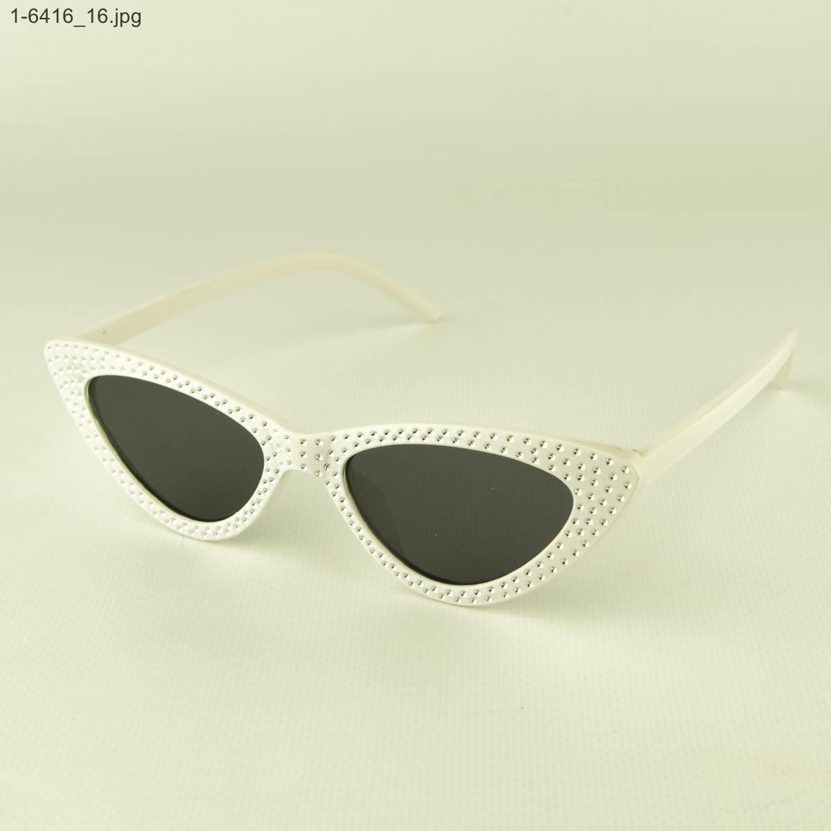 Женские очки кошачий глаз - Белые черными линзами - 1-6416