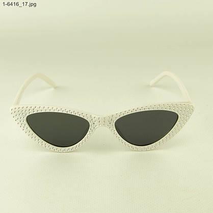 Женские очки кошачий глаз - Белые черными линзами - 1-6416, фото 2