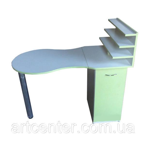 Маникюрный стол с полочками под лаки и складной столешницей