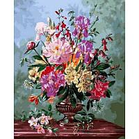 """Картина по номерам, картина-раскраска """"Цветочный букет в вазе на мраморном столе"""" 40Х50см VP1060"""