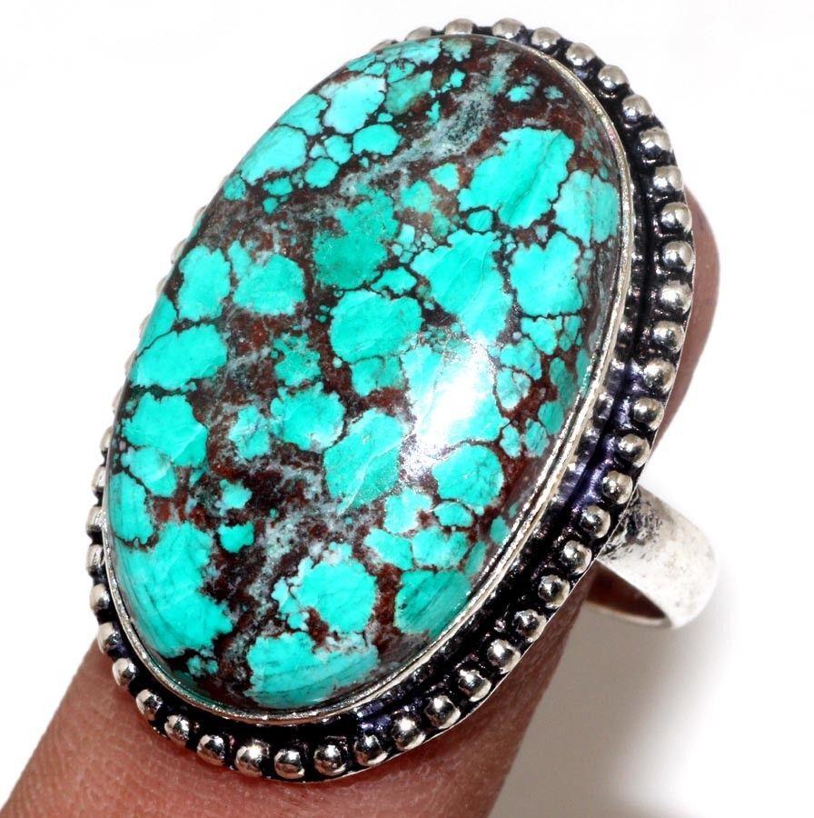 Красивое кольцо бирюза 19 размер кольцо с природной бирюзой в серебре Индия!