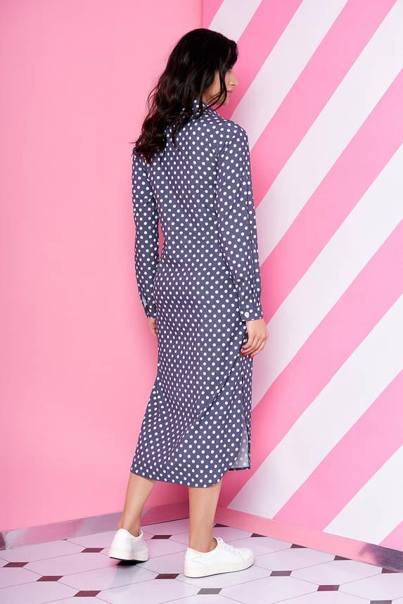Платье рубашка длинное в горошек из джинс-коттона, фото 2