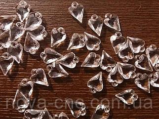 """Подвески """"Сердце"""" прозрачные без оттенка 1,5 см акрил 500 грамм"""