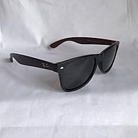 Солнцезащитные очки Полароид Ray Ban Wayfarer черный матовый дерево