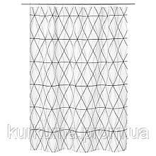 IKEA FOLJAREN Душевая занавеска, белый черный, серый  (103.469.11)