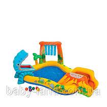Ігровий центр-басейн дитячий надувний Динозавр з гіркою і душем Intex 57444
