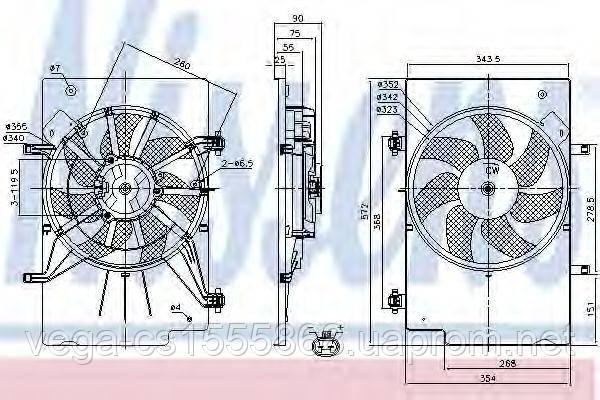 Вентилятор системы охлаждения двигателя Nissens 85768 на Ford Fiesta / Форд Фиеста