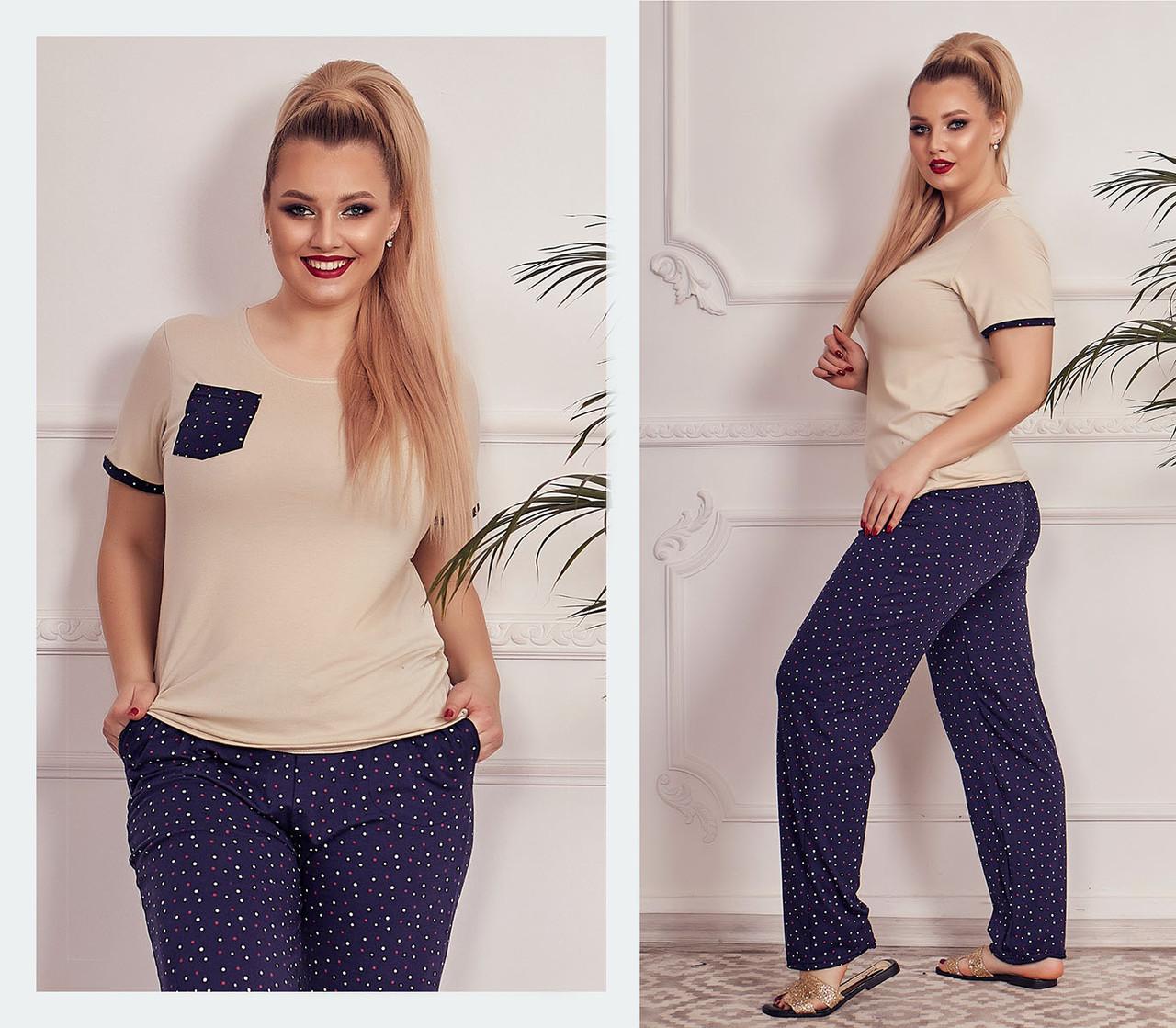 """Жіночий домашній комплект-піжама з брюками у великих розмірах 184-1 """"Однотон Сердечка Кишеньку"""" у кольорах"""