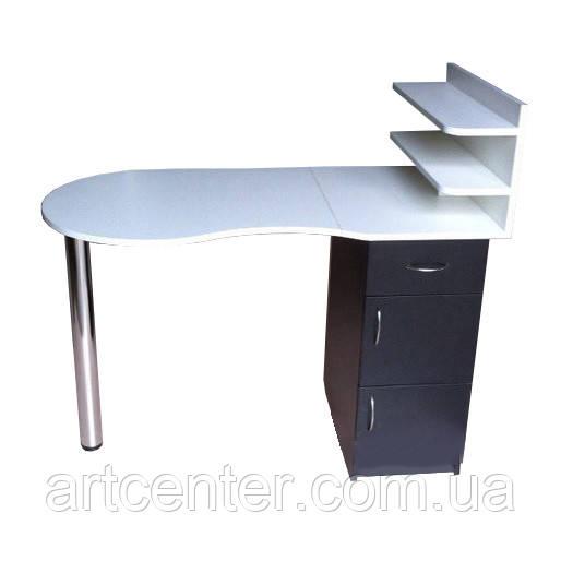 Маникюрный стол белый с черным однотумбовый