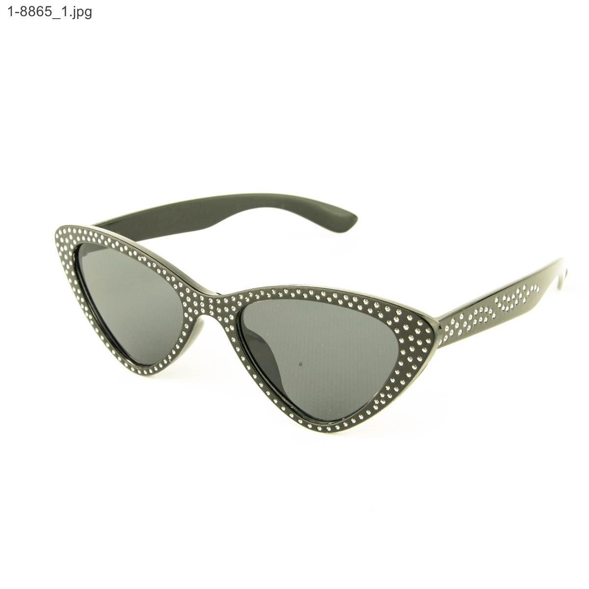 Модные очки кошачий глаз - Черные со стразами (имитация) - 1-8865
