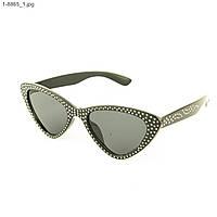 Модные очки кошачий глаз - Черные со стразами (имитация) - 1-8865, фото 1