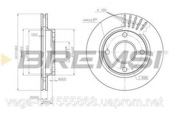 Тормозной диск Bremsi DBA887V на Ford Escort / Форд Эскорт