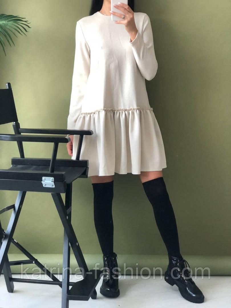 Женское стильное льняное платье-трапеция с рюшами (в расцветках)