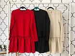 Женское стильное льняное платье-трапеция с рюшами (в расцветках), фото 6