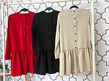 Женское стильное льняное платье-трапеция с рюшами (в расцветках), фото 7