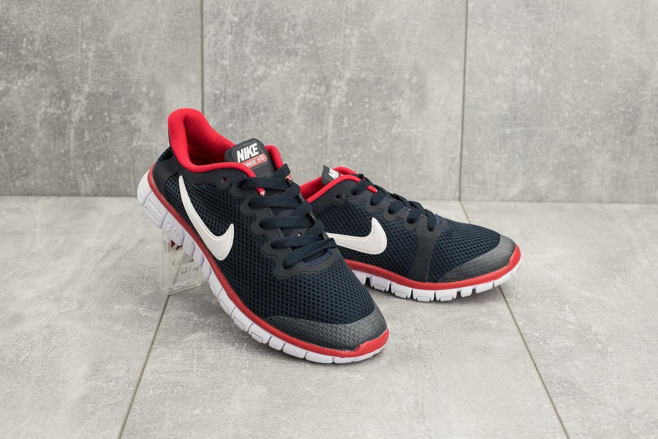 Кроссовки G 7385 -6 (Nike Free Run 3.0) (лето, женские, текстиль, синий-красный)