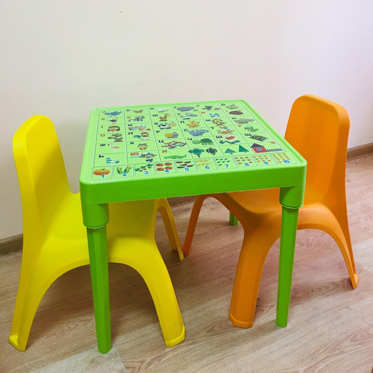 """Набор детской пластиковой мебели """"Абетка"""" стол и 2 стула. (САЛАТОВЫЙ СТОЛ) Украина"""