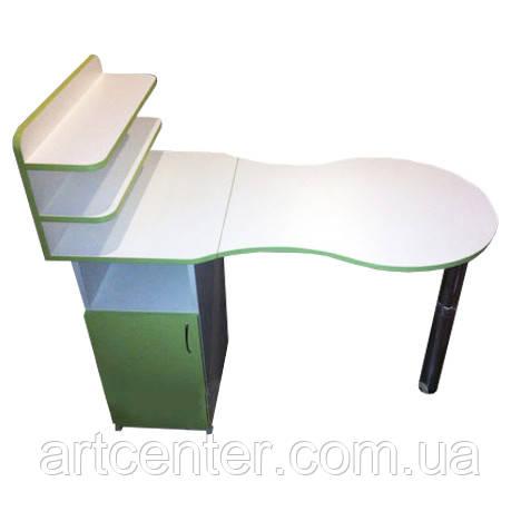 Стол для мастера маникюра со складной столешницей и закрытыми полочками белый с салатовым