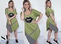 Платье летнее асимметричное, с 50-60 размер, фото 1