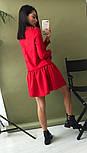 Женское стильное льняное платье-трапеция с рюшами (в расцветках), фото 8