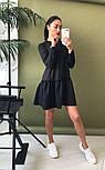 Женское стильное льняное платье-трапеция с рюшами (в расцветках), фото 9