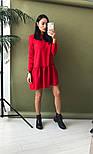 Женское стильное льняное платье-трапеция с рюшами (в расцветках), фото 10