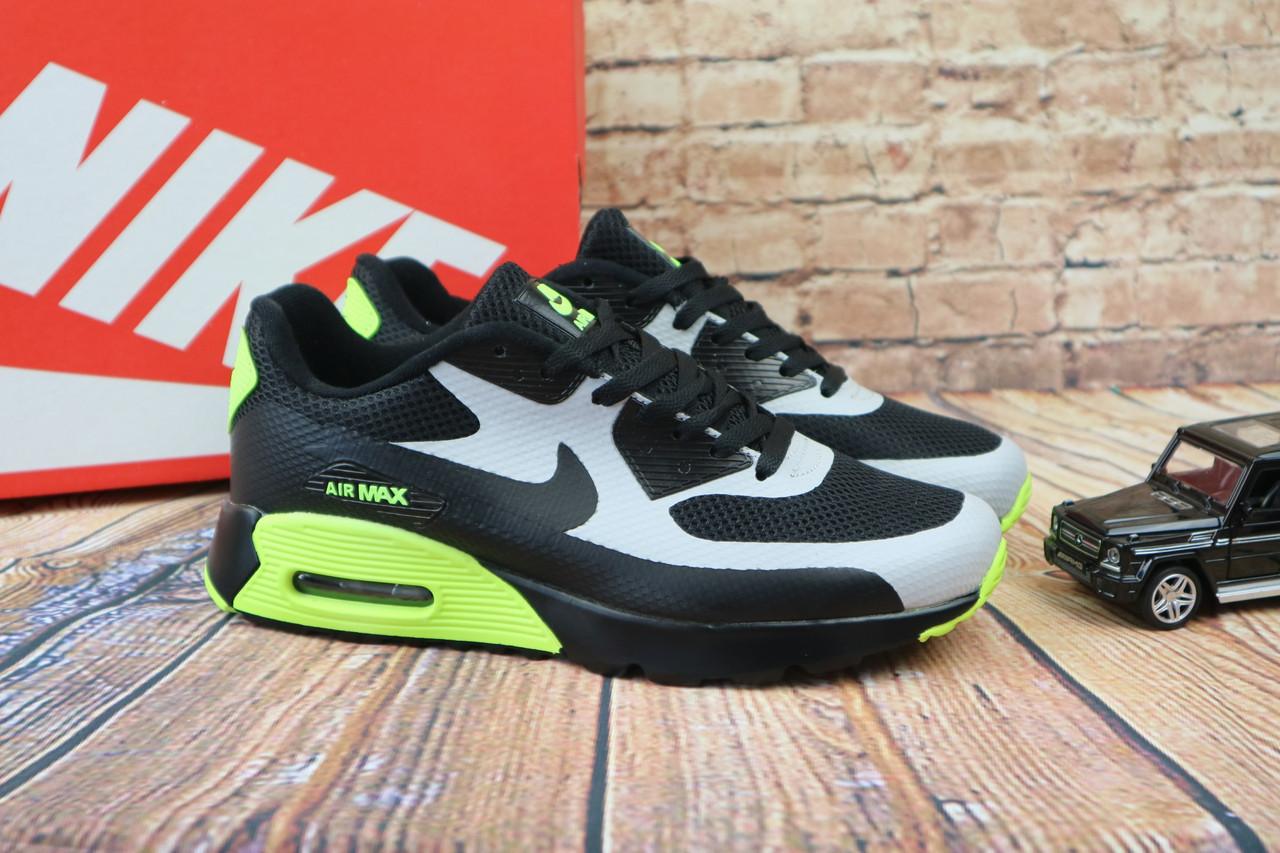 Кроссовки А 962 (Nike) (весна/осень, мужские, текстиль, черно-салатовой)
