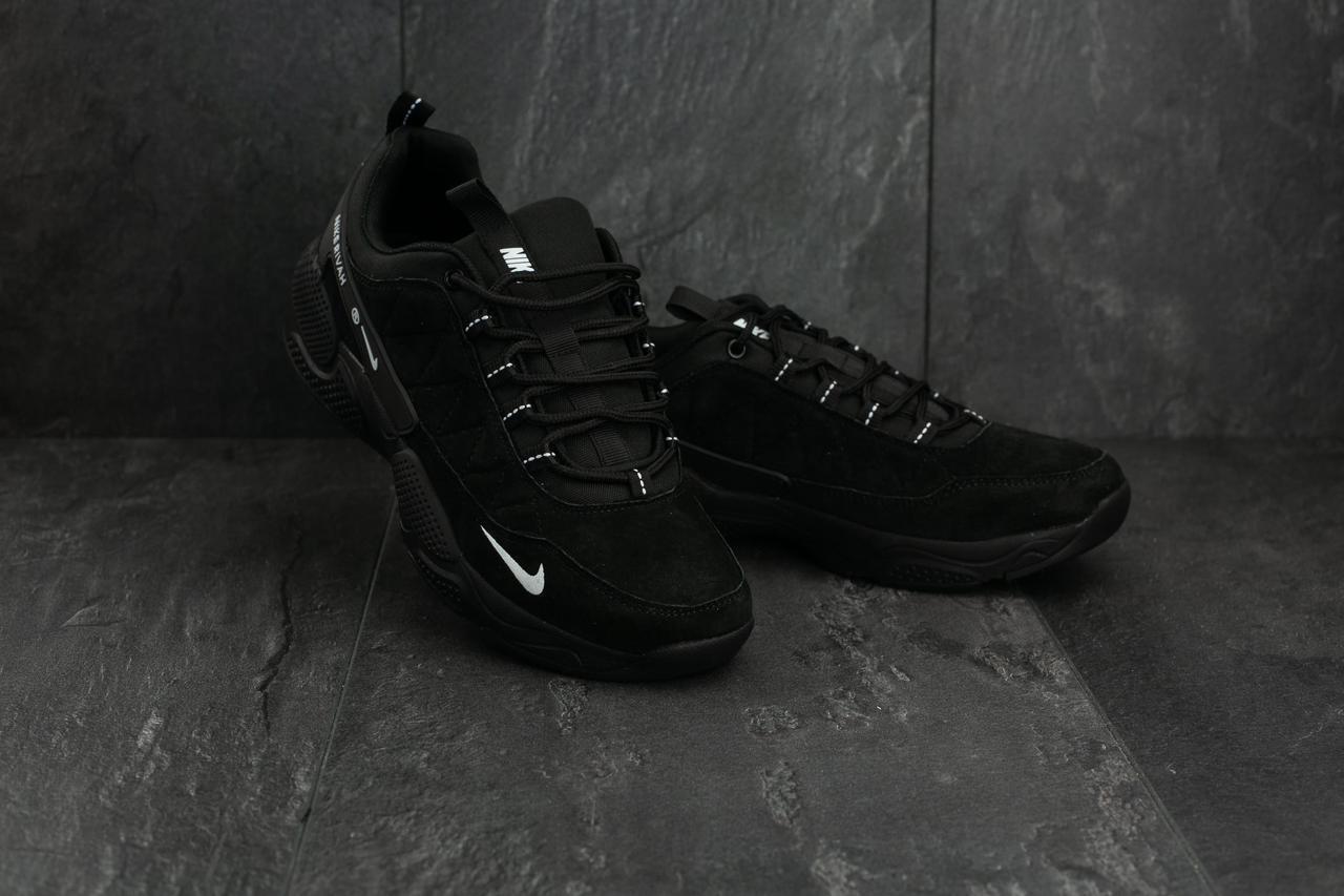 Кроссовки A 327-1 (Nike Rivah) (весна-осень, мужские, замш, черный)