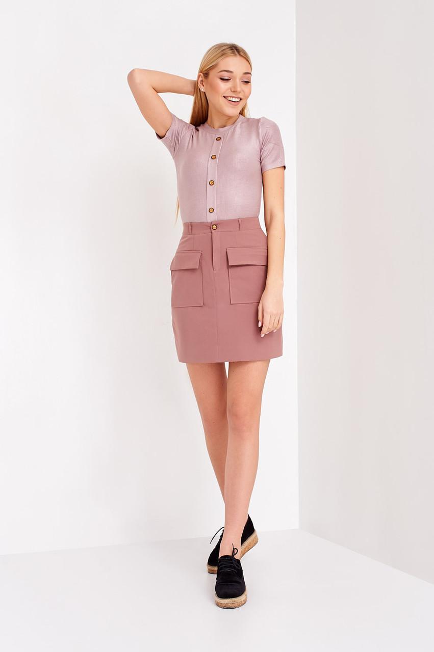 Молодежная женская юбка цвет лиловый