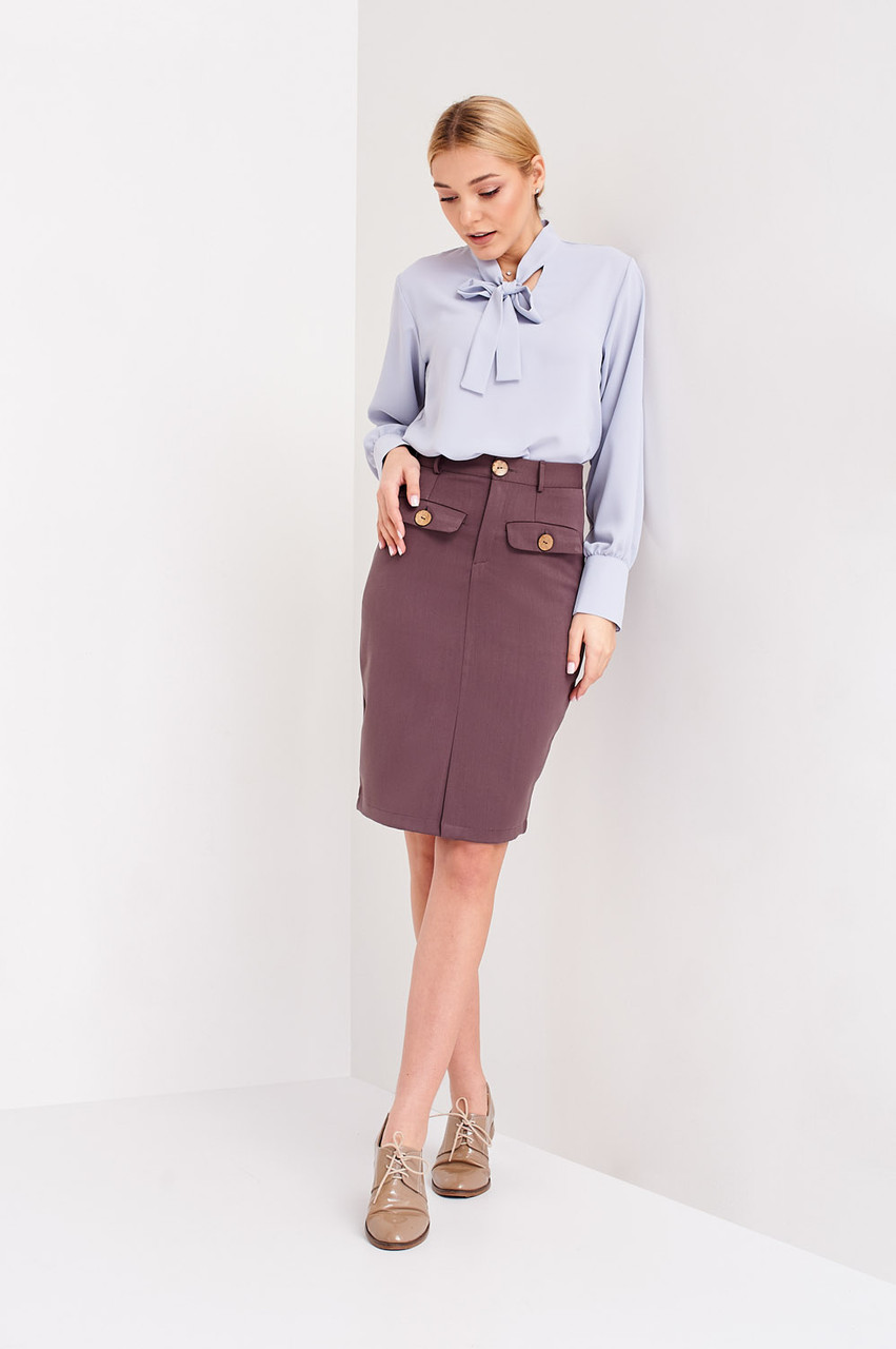 Женская юбка длина по колено цвет капучино