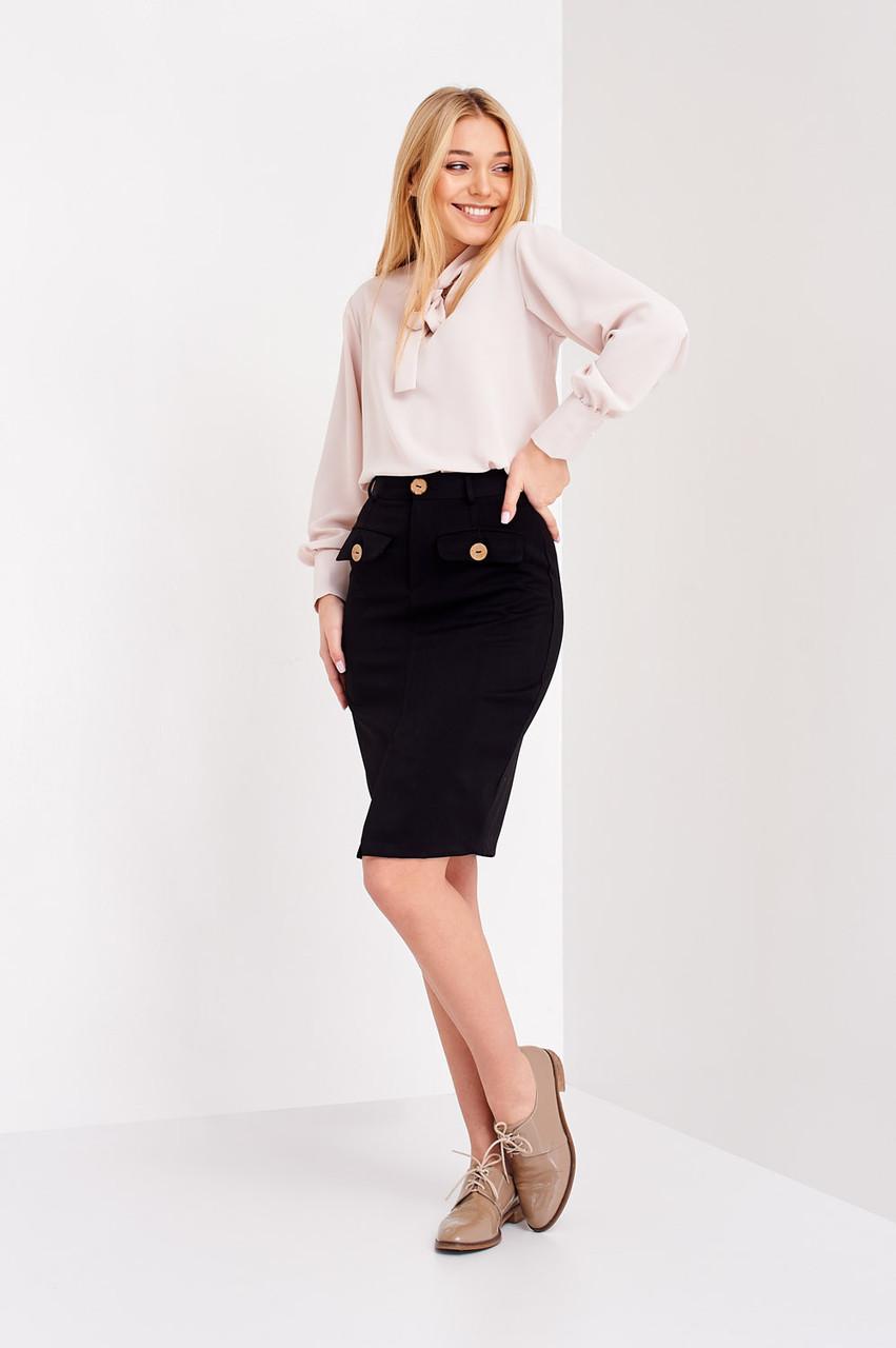 Черная молодежная юбка длина по колено
