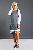 Женский костюм двойка, рубашка-платье и жилетка, фото 1