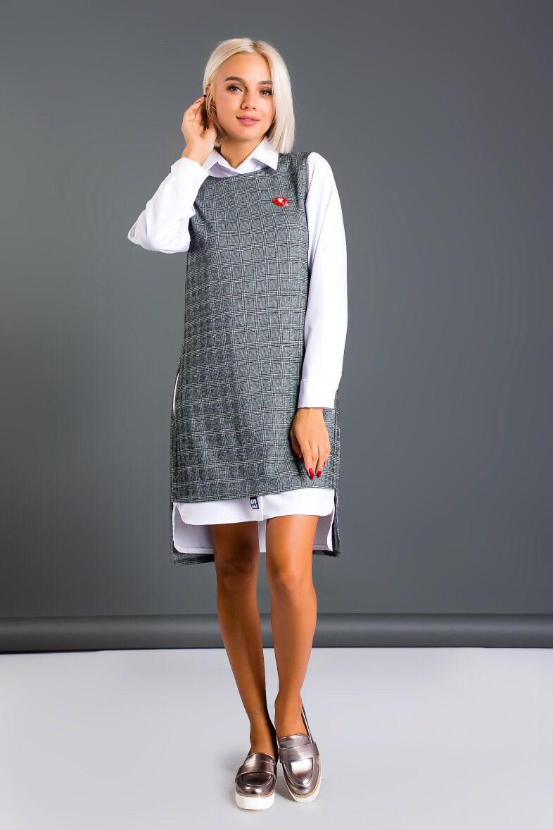 Женский костюм двойка, рубашка-платье и жилетка