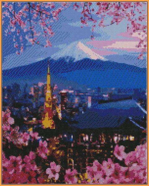 Алмазная вышивка  40×50 см. Йокогама и гора Фудзияма (ST-1112)