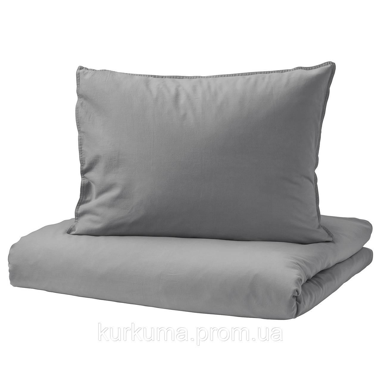 IKEA ANGSLILJA Комплект постельного белья, серый  (903.186.50)