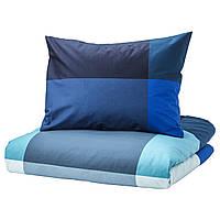 IKEA BRUNKRISSLA Комплект постельного белья, синий, серый  (303.754.03)