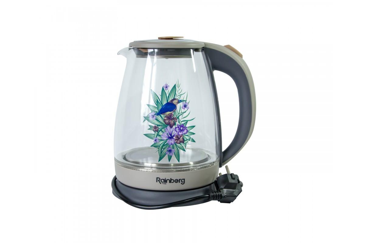 Электрический чайник RAINBERG RB 998 стеклянный чайник с рисунком на корпусе