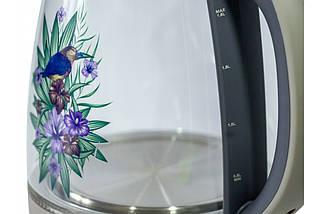 Электрический чайник RAINBERG RB 998 стеклянный чайник с рисунком на корпусе , фото 3