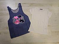 Набір футболка-майка для дівчаток Miss Girl 6-14 років, фото 1
