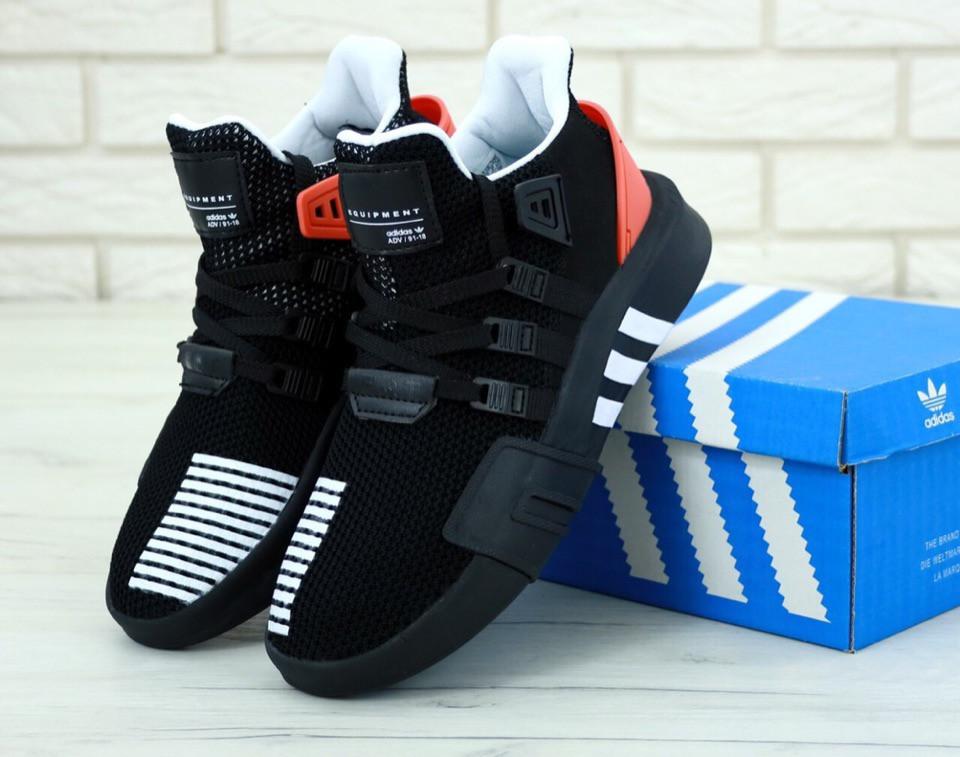 4f8a17dc4 Мужские кроссовки Adidas EQT ADV Racing Black|White|Orange (Реплика ААА+)
