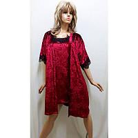 Комплект велюровый халат и рубашка большого размера 414, фото 1
