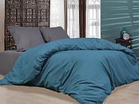 Полуторное постельное белье бязь gold - Серо-бирюзовая однотонка